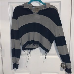 Unique cropped striped/ripped up shirt w collar
